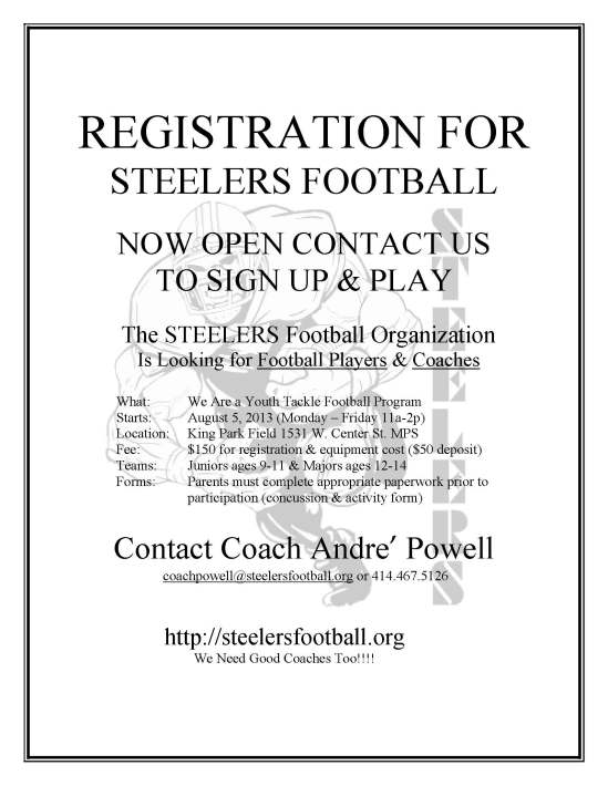 STEELERS REGISTRATION FLYER ONLINE 2013