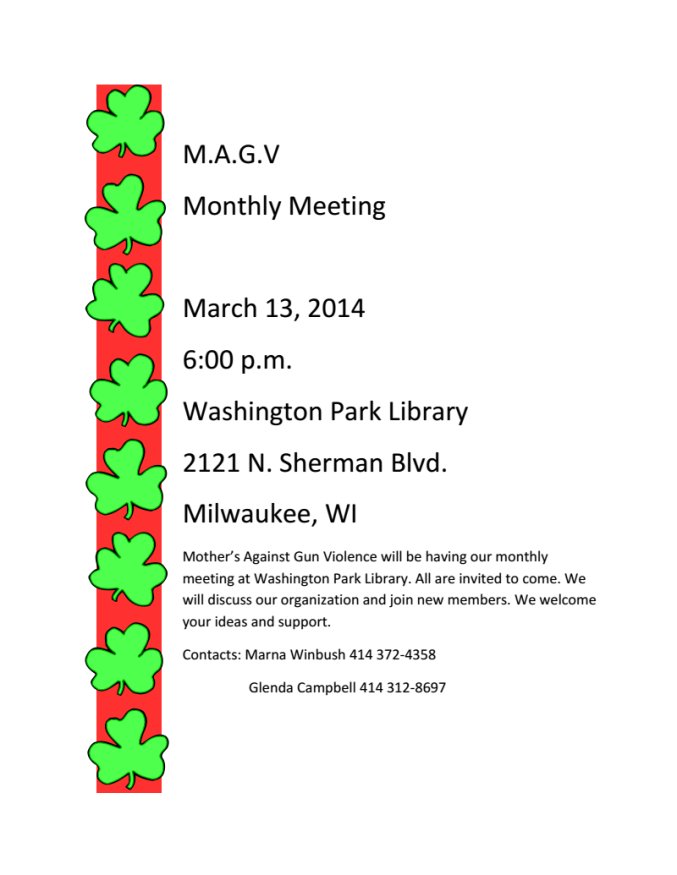 Mother Against Gun Violence March Meeting