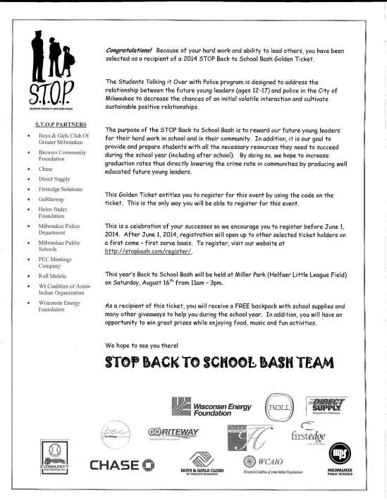 Back to School Bash Team Letter