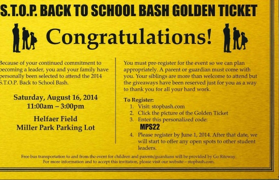 Golden Ticket for Back to School Bash 2